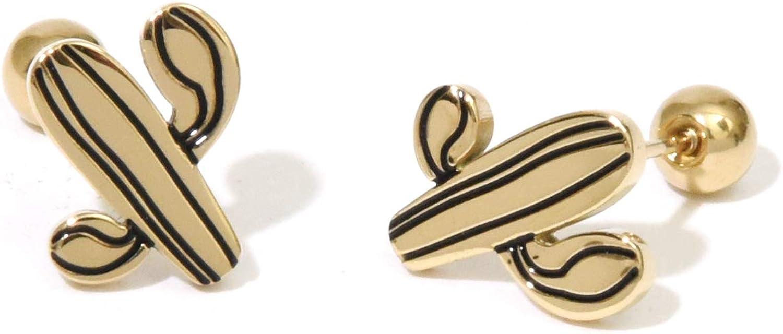 Cactus studs earrings Screw back ball earrings Surgical steel posts cute earrings