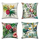4pcs 45,7x 45,7cm Tropical plantes en coton et lin Couvre-lit Taie d'oreiller Coque carré Housse de coussin