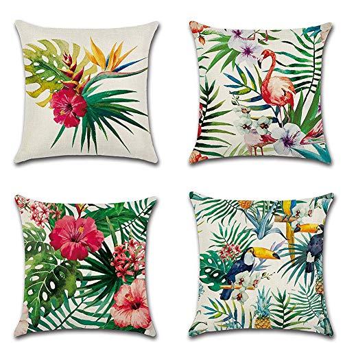 4pcs 45,7x 45,7cm Tropical plantes en coton et lin Couvre-lit Taie d oreiller Coque carré Housse de coussin
