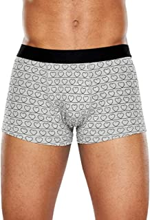 Happy Socks - Bóxer para hombre Loveline. Coloridos con diseño simple gris y negro. Algodón cómodo y transpirable.