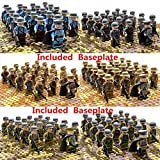 HOCHE 21Pcs WWⅡ Army Military Soldiers Action Minifigures Set Troop with Baseplate(German)