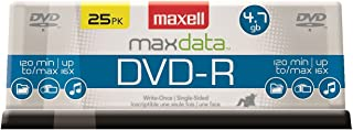 Maxell 638010 Superior Archival Life Digital Storage Playback Write Once DVD-R 4.7 Gb Spindle 25 Pack,Blue