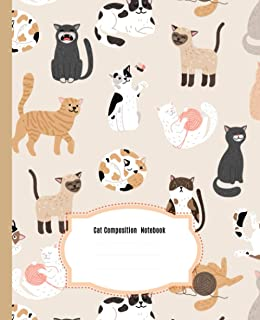 Cute Cat Composition Notebook: Beautiful Wide Blank Lined Workbook for Kids Girls Boys Students Teens Home School and College