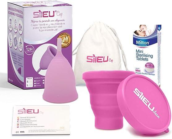 Copa Menstrual Sileu Cup Bell - 12 horas de protección sin fugas y pérdidas - Talla S Transparente + Esterilizador Plegable al azar + 50 Pastillas ...