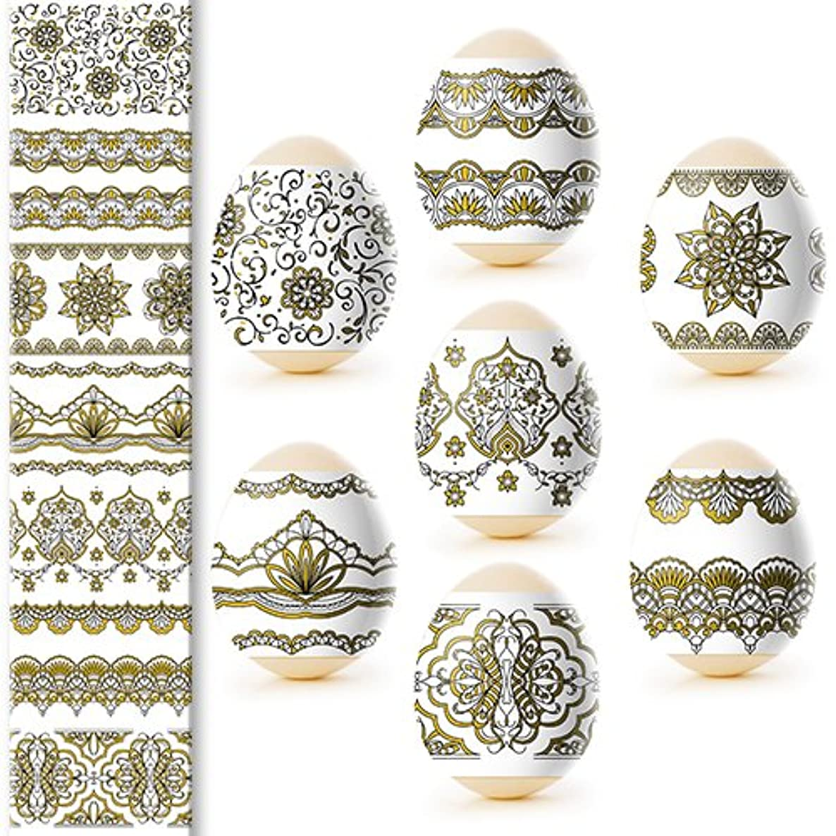 Ukrainian Heat Shrink Wrap Sleeve Decoration Easter Egg Wrappers Pysanka Arounds Set (Golden Eggs)