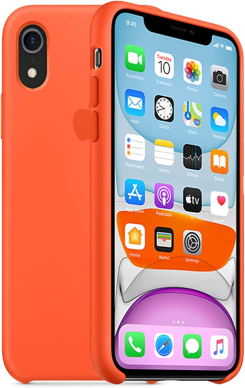 iPhone xr Case 6.1 inch,Ultra Slim Fit iPhone Case Liquid Silicone Gel Cover with Full Body Protection Anti-Scratch Shockproof Case Compatible with iPhone xr(Orange)
