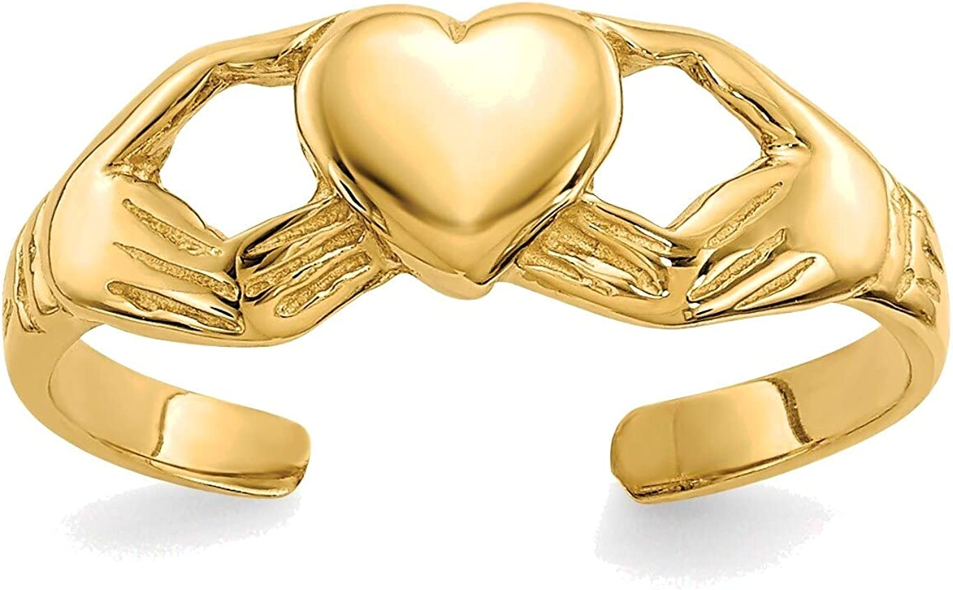 Bonyak Jewelry Polished Claddagh Toe Ring in 14K Yellow Gold in Size 2