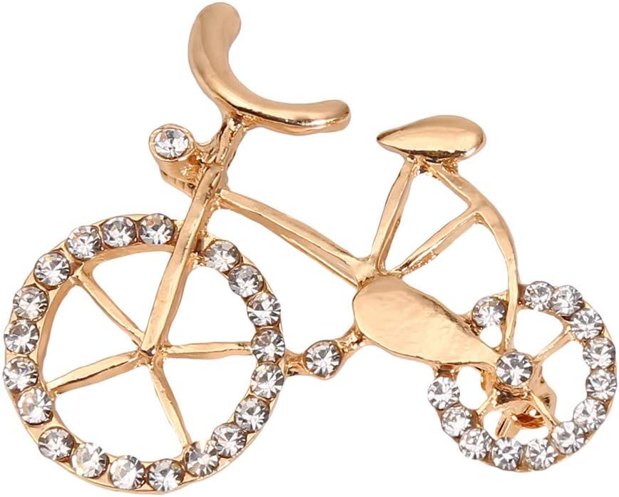 Cngstar Women Selling Bicycle Crystal Brooch Max 62% OFF Pins Gold Elegant Plated Br