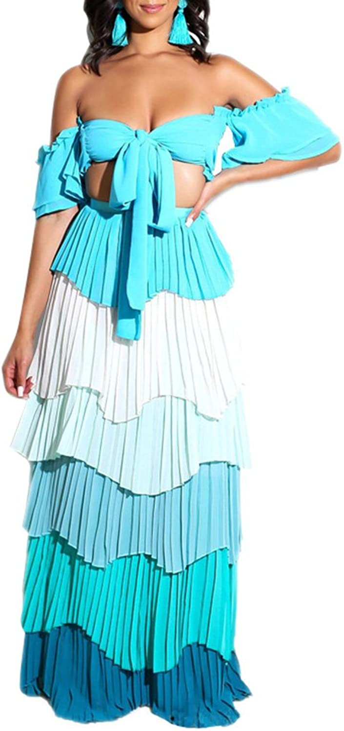 Adogirl Womens Sexy 2 Piece Outfit Crop Tube Top Layer Ruffle Maxi Dress bluee M