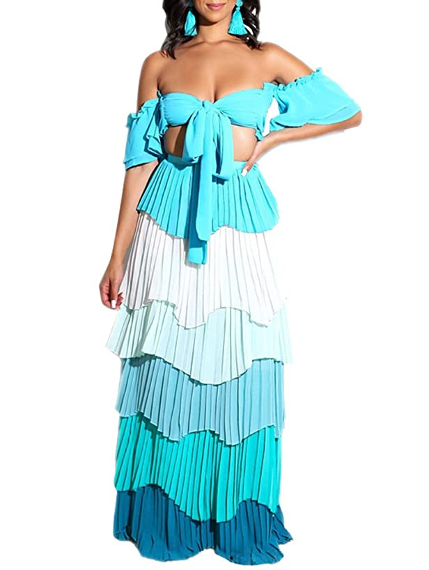 Adogirl Womens Sexy 2 Piece Outfit Crop Tube Top Layer Ruffle Maxi Dress