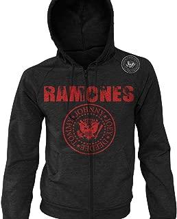 The Ramones Shoulder Shield Logo Soccer Zip-Up Hoodie Retro Classic Rock Band