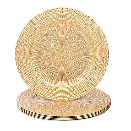 Maoname Platzteller, rund, 33 cm, Kunststoff, für Küche, Esszimmer, Hochzeit, elegante Dekoration Geschirr Large Gold - Getriebeplatte