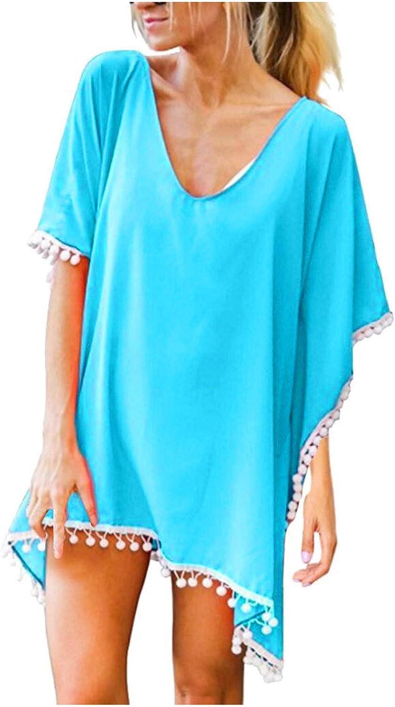 ZAKIO Women Swimwear Tassel Solid Color Loose Casual Beach Cover-Ups Swimsuits with Summer Beach Cover Ups Retro Boho Beachwear Light Blue
