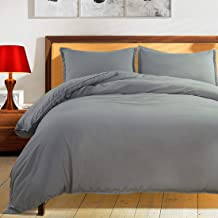 Balichun Duvet Cover Set King Size Premium with Zipper Closure Hotel Quality Hypoallergenic Wrinkle and Fade Resistant Ultra Soft -3 Piece-1 Microfiber Duvet Cover Matching 2 Pillow Shams King Grey