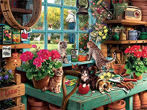 AthlChamp Puzzles für Erwachsene 1000 Teile, Fenster Katzen 1000 Stück Puzzle, Home Decor, Pädagogische Spiele DIY Spielzeug Gehirn Herausforderung Puzzle für Kinder Jugendliche Erwachsene