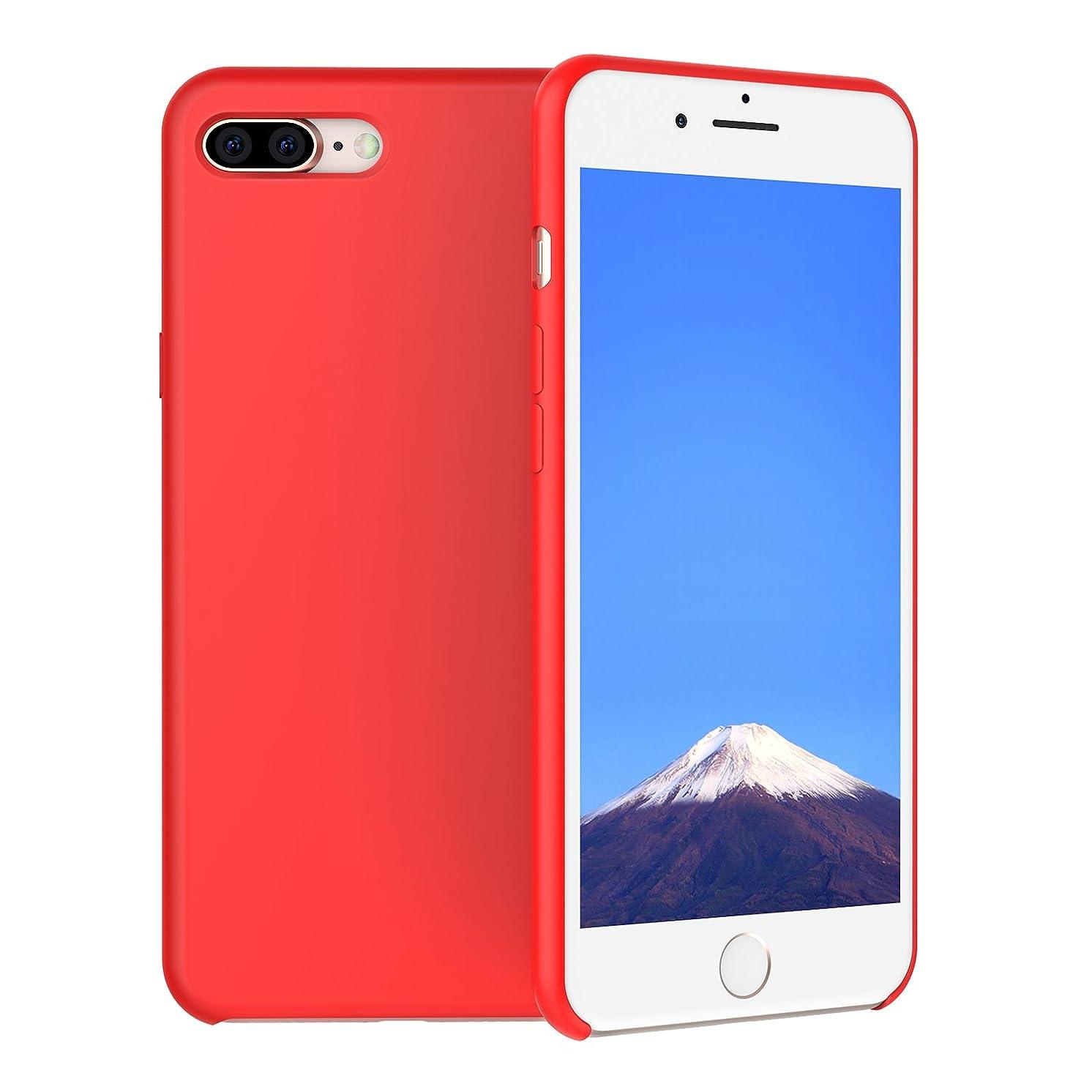 通常ゴミ箱駅SHUNION Iphone8Plus Iphone7Plusケースカバーレッド - アイフォン8プラスアイフォン7プラスバンパー液態シリカゲル素材全面耐衝撃指紋防止純正チー対応