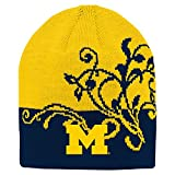 NCAA Michigan Wolverines Girls Outerstuff Jacquard Cuffless Two Toned Hat, Team Color , Youth One Size