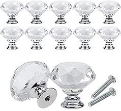 YCDC Crystal lade kast knoppen diamant vormige kristallen glazen knoppen trekt 20mm voor dressoir & keuken, kledingkast & ...