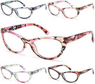 Gaoye 5-Pack Cateye Reading Glasses Blue Light Blocking Women, Computer Spring Hinge Readers Anti UV Ray Lens Fashion Frames