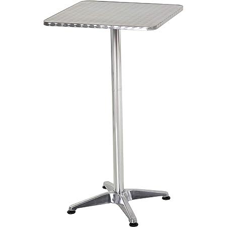 HOMCOM réglable en Hauteur Table de Bistro Pub Bar Table carrée en Acier Inoxydable Top Aluminium Edge 60x 60cm
