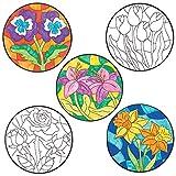 Baker Ross Blume Deko Anhänger Bastelset zum Ausmalen (12 Stück) Kreative Künstler- und Bastelbedarf für Kinder zum Basteln, Schmücken und Schenken