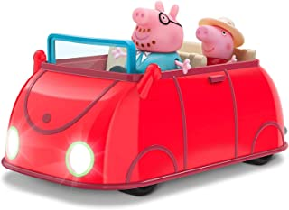 Peppa Pig Lights & Sounds Family Fun Car Vehicle Playset, 3 Pieces - Includes Interactive Red Car with Peppa and Daddy Pig...