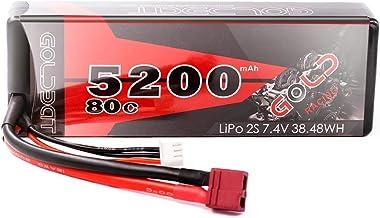 GOLDBAT RC Batterie 5200 mAh 7.4 V 2S 80C LiPo Batterie Akku Pack mit Deans Stecker für RC Auto Boot LKW Heli Flugzeug