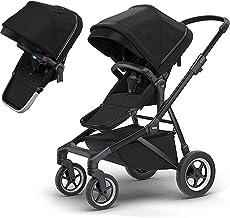 Thule Sleek Four-Wheel Stroller in Black on Black with Second Sibling Seat