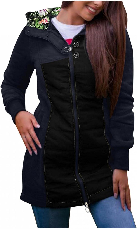ManxiVoo Women Autumn Winter Color Stitching Floral Hooded Pockets Jacket Zipper Sweatshirt Coat Outwear