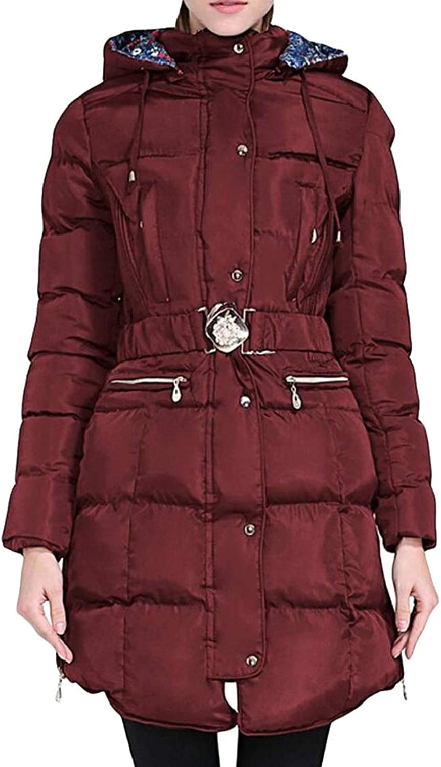 Esast Women Hooded Down Padded Long Winter Warm Parka Outerwear Zipper Jackets