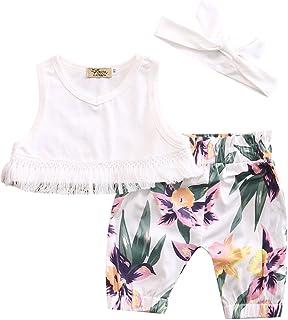 84e93964b50dd Newborn Baby Girls Floral Shorts Set Sleeveless Tassel Crop Top Tropical  Shorts Outfits with Headband