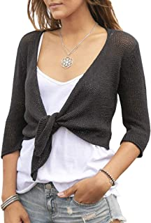 Yacooh Womens Belero Tie Front Shrug Cardigans 3/4 Sleeve Cropped Sheer Short Shawl Ladies Top