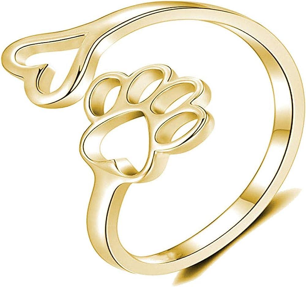 liwen Dog Paw Ring Adjustable Print Love Heart Ring Animal Hollow Paw Print Ring for Pet Lovers