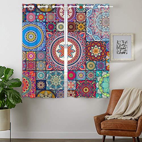 YISUMEI - Gardinen Blickdichter - Nähendes Mandala,160 x 110 cm 2er Set Vorhang Verdunkelung mit Ösen für Schlafzimmer Wohnzimmer