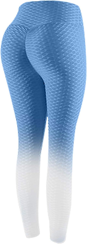 Women's Bubble Hip Lifting High Waist Stretch Gradient Yoga Pants Fitness Running Leggings Full Length Active Pants