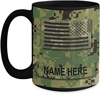 Personalized Navy Coffee Mug - US NAVY Chief Petty Officer (CPO) E7 – NWU Type III Material-Customize with Name or Text - 15 oz Cup - US Navy Gift