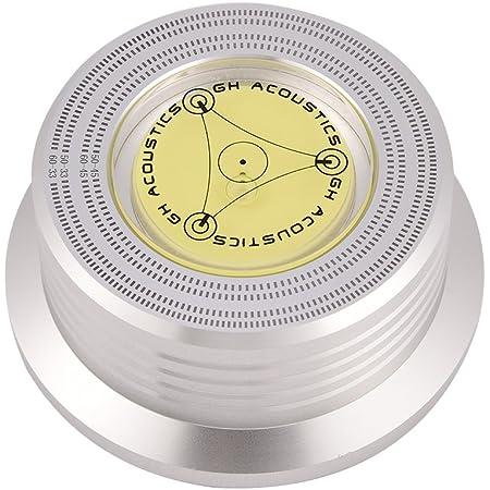VBESTLIFE Registra stabilizzatore, 50/60 Hz Livella a Bolla Rilevamento velocità Giradischi LP Disco in Vinile Regolatore stabilizzatore (Argento)