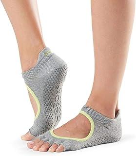Toesox, Bella - Calcetines de yoga para mujer, algodón orgánico, 5 dedos, parte delantera abierta, color fucsia