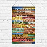 Today is a New Day Wall Decor Print Canvas Poster, 12 x 20 Inch Motivational...