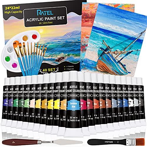 RATEL Acrylfarben Set, [24*22ml] 2 Leinwand + 10 Pinsel + #2 Pinsel + Palette + Palette Messer + Schwamm, Perfekt für Leinwand, Holz, Stoff, Ungiftige Acrylfarben Set für Anfänger, Künstler