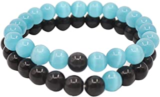 UEUC Distance Couple Bracelet His and Hers Black Matte Agate & White Stone 8mm Beads Bracelet