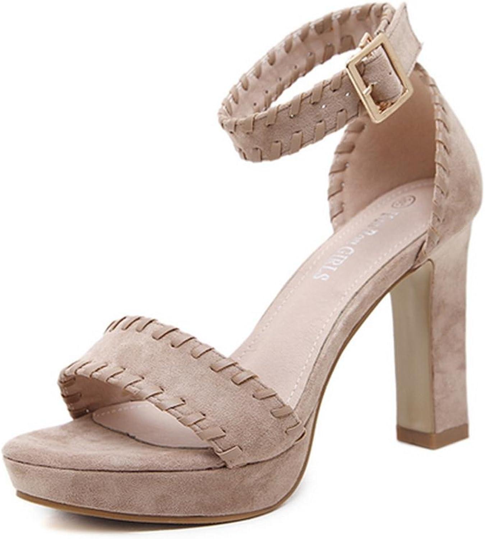 ChunSe Damen Sommer High Heel Sandalen,Frauen-Plattform-Starke Fersen-Sandelholze Strappy-Absatz-Sommer-Schuhe