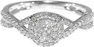 1/3cttw Diamond Engagement Ring Woven Twisted Halo Split Shoulder 10K White Gold