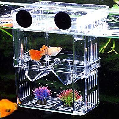 Aquarium Fish Breeding Box, NETUEM Acrylic Double Layer Fish Isolation Box/Baby Fish Hatchery/Fry Breeder Box for Guppy,Tropical Fish, Floating Fish Incubator Tank Divider with Suction Cups, L size