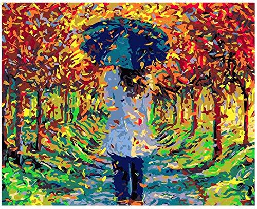Schilderen op getallen DIY digitale olieverfschilderij schoonheid onder de paraplu afbeelding tekening op canvas handwerk 40 x 50 cm