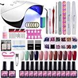 Saint-Acior Lámpara Secador de Uñas 36W UV/LED 12PCS Esmalte Semipermanente Kit Uñas de Gel...