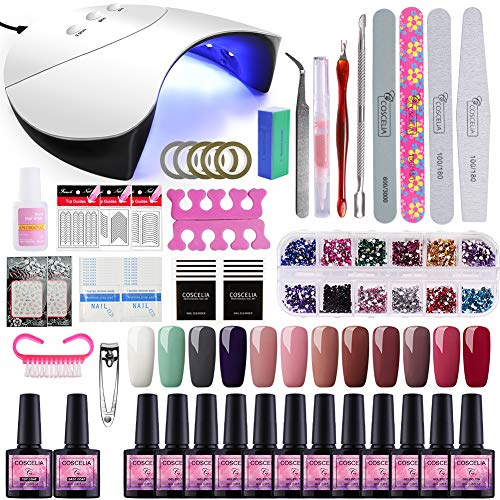 Saint-Acior Lámpara Secador de Uñas 36W UV/LED 12PCS Esmalte Semipermanente Kit Uñas de Gel Primer Uñas Top Coat DIY Uña Arte Kit para Manicura