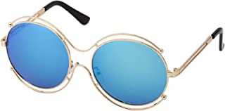 Sky Vision Panto Sunglasses for Women, Blue Lens, 48910