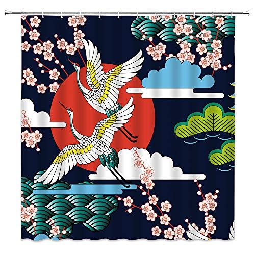 Japanischer Duschvorhang, rosa Kirschblüte, Sakura-Blume, rote Sonne Fying Vogel abstrakte Wellen, Vintage-Stil, asiatische Kunstmalerei, Badezimmerdekoration, Stoffvorhang mit 12 Haken, 178 x 178 cm