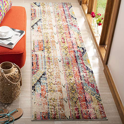 Safavieh Monaco Collection MNC222F Boho Chic Tribal Distressed Non-Shedding Stain Resistant Living Room Bedroom Runner, 22 x 6 , Multi